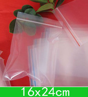 New Clear PE bags (16x24cm) resealable Poly bags,zipper bag for wholesale + free shipping 100pcs/lot