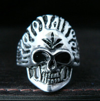 Hip Hop Rock Band Punk Style Super Cool Titanium Steel Cross Skull Ring For Men
