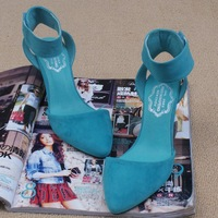 Summer new arrival 2013 solid color  cutout  scrap  pointed toe high-heeled single shoes sandals for woman
