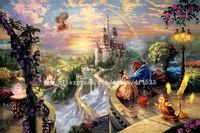 Thomas Kinkade prints Original oil painting Beauty and the Beast Falling in Love reproduction on canvas Home decor wall art