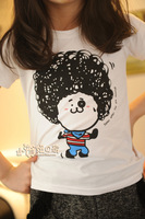 Free shipping 2013 Hot-sell female child summer short-sleeve T-shirt explosion head bear child T-shirt