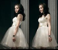 Free fast shipping mini formal dress short design bridesmaid dress off-shoulder back zipper Bra dress