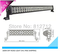 30 inch 180w off road led light bar  waterproof IP 67  flood  beam  for 4x4  SUV  ATV  4WD truck   FREE SHIPPING