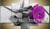 purple rose flowers gray red abstract oil painting Modern abstract wall art canvas 100% hand painted frameless 4pcs/set A41