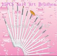 Free Shipping Beauty Care 15pcs/set Professional  Acrylic Nail Art Brush Set For  Nail Polish Design Drawing