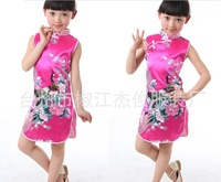 Fashion Phoenix pattern Girl's cheongsam one piece dress Chiness cheongsam Dress The cheongsam for kids Free shipping