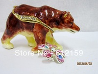Free Shipping 2013 Top Fashion Pewter Alloy Rhinestone polar bear animal jewelry box