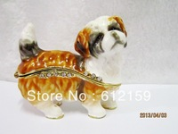Factory direct selling Top Fashion Pewter Alloy Rhinestone dog trinket box free shippping !!!