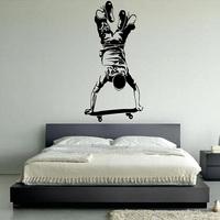 Vinyl Wall decal wall Sticker Skateboarder,  mural wallpaper  for home  wall art  Home Art Decor Decal  60*125CM  Free shipping