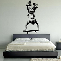 Vinyl Wall decal wall Sticker Skateboarder,  mural wallpaper  for home  wall art  Home Art Decor Decal  60*125CM  Free shipping