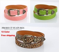 2013 all-match pigskin velvet women's strap candy color pin buckle belt veneer decoration waist belt leopard print