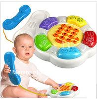 Wholesale retail Child initiation toy Infant education multifunctional gustless music phone story telling telephone toy freeship