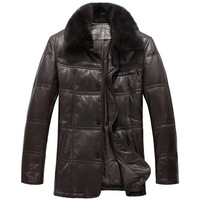 Leather clothing male genuine sheepskin leather down coat leather clothing mink hair turn-down collar down leather clothing Men