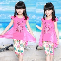 Children's clothing female child summer set child 2013 100% T-shirt cotton short-sleeve skirt child legging