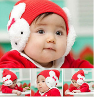 ``Hot-selling baby hat autumn and winter hat rabbit ear protector cap baby knitted hat 4