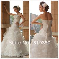 Strapless Empire Sweetheart Floor-Length Princess Rhinestone Ruffle Lace Up Organza White Wedding Dress Bridal dress CH2168