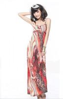 Free shiping Bohemia gradient color tube top dress viscose beach dress slim one-piece dress full dress
