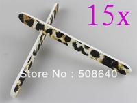 Freeshipping 15pcs/lot 100/180 Nail Care Tools Fashion Salon Leopard Desgin Manicure File Accessories 511B