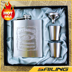 Jack Daniels Hip Flask set 7oz Portable Stainless Steel Flagon Wine Bottle Gift Box Hip Flasks,4pcs/set,Free Shipping!(China (Mainland))
