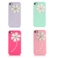 Free ship SG New 3D flowers Pearl Crystal Hard Case Cover Skin Back For iPhone 4 4G 4S 2pcs/lot