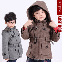 2013 spring male child wool coat slim fashion children short design trench outerwear