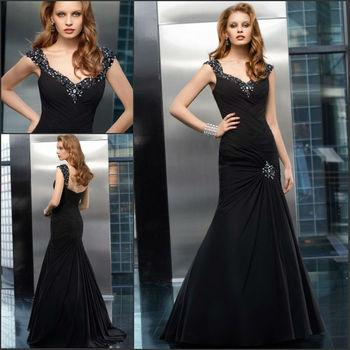 Black Color Elegant Style Cap Sleeve Chiffon Fishtail Evening Dresses