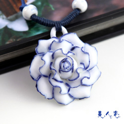 Sweets porcelain accessories jingdezhen ceramic jewelry porcelain necklace pendant valentine day gift chinese style accessories(China (Mainland))