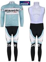 Winter!Free shipping+Bianchi white+PADCOOLMAX+Winter Fleece Thermal  Cycling Wear/bicycle clothing Long Sleeved Jersey+BIB Pants