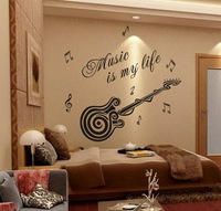 Removable Wallpaper Stickers Guitar Decoration Interior Design Lettering Music Boys Wall Stickers