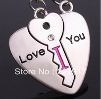 Min. Order is $10 ( Can Mix order )!  Couple keychains pair | pendant heart-shaped key lock the heart take to drill