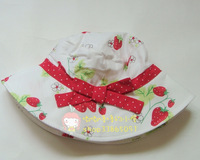 Strawberry baby girl large brim sun hat summer hat child sun-shading baby hat
