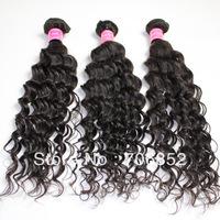 free shipping 100g/pcs unprocessed virgin remy indian hair weaves natural black 1B deep wave machine weaving hair weft 3 pcs lot
