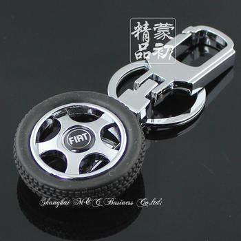 free shipping 10pcs Rotary tyre rim model series emblem fiat emblem keychain 4s car gifts 3D Car key chain