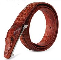 New arrival 4 color 100% genuine Leather Belts Crocodile Buckle Top Alligator Design leather belt men brand