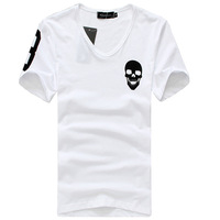 Hot sale free shipping fashion skull design men t shirts Slim fit shirts for men White M L XL XXL C064