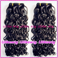 AAAAA 2013 New Style Indian Remy Hair Extension-Beautiful Curly 18''#2 Hair Weaving Human Hair weft machine weft