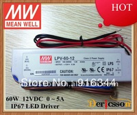 MEAN WELL 60W 12V LED Driver UL&CE&CB 12V Constant Voltage LED driver IP 67 LPV-60-12