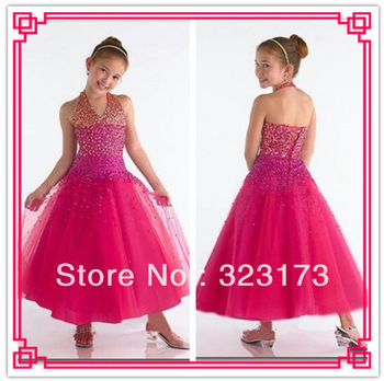 Free Shipping Fuchsia A-line Sequin Tulle Halter Ankle Length Pageant Dress Baptism Gown Girl