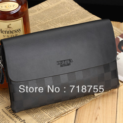 LUYIVARIYAEN new style design grid cowhide clutch bag genuine men's handbags sold at discounted prices(China (Mainland))