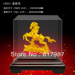 LY511 24K gold craft Chinese New Year gift /Gold Horse/gold handicraft/chinese traditional art gift/horse figurine/gold statues/(China (Mainland))