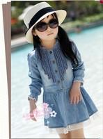 New leisure thin cotton denim dress, children long sleeve dress ,5pcs  Free shipping