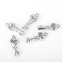 Free ship!PJ06  20pcs 8*20mm small KEY pendant charms buffing Stainless steel accessories.DIY Jewelry Never Lose color