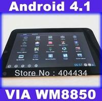 "7"" Android 4.1 tablet VIA 8850 Capacitive CPU Cortex A9 CPU 1.2GHZ 512MB 4GB HDMI WM8850 WiFi 10pcs"