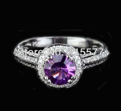 Estate 6.3mm Amethyst .29ct Diamond 14K White Gold Ring(China (Mainland))