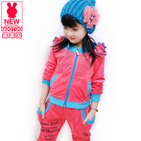 Children's clothing small female child summer new arrival 2013 section of fashionable casual velvet long-sleeve pants set