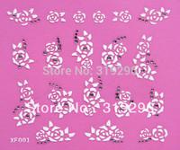 Wholesale - 30PCS/lot Nail Art 3D Sticker Decal White&Gold Flowers & Rhinestone3D Nail Sticker