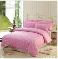 cottton 4pcs pink bedding set Queen Music Note Comforter duvet cover set bed in a bag Free shipping