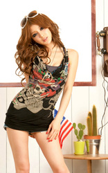 Free shipping/Wholesale promotion price/Sexy woman fashion skull pattened sleeveless summer tank tops blouse strenth slim R030BK(China (Mainland))