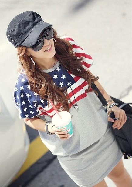 2013 new Korean loose flag printing summer dress bag hip short-sleeved dress code great folk style(China (Mainland))