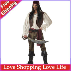 Men's pirate costume, Halloween costumes, Captain Jack Sparrow stage play clothes (shirt + vest+pants + headscarf + belt + belt)(China (Mainland))